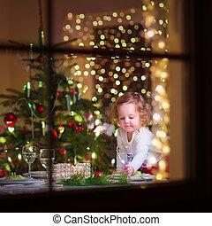 petite fille, dîner, noël