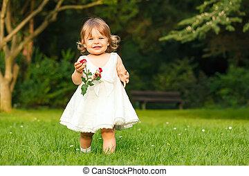 petite fille, dans parc