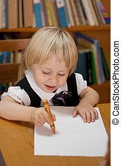 petite fille, dessin, feuille, blanc