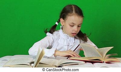 petite fille, diligently, leur, homework.