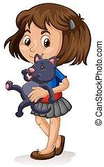 petite fille, elle, chaton