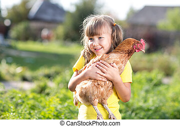 petite fille, est, tenue, les, poule, ferme