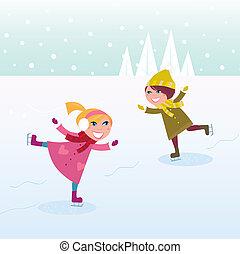 petite fille, garçon, patinage glace