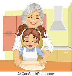 petite-fille, grand-mère, comment, pâte, cuisinier, enseignement, pizza, dehors, rouleau, cuisine