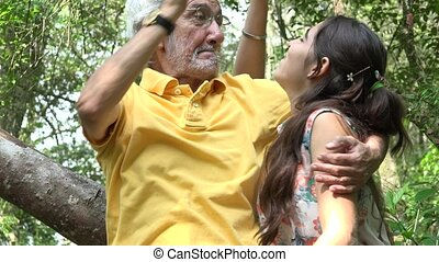 petite-fille, idiot, grand-père