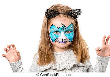 petite fille, joli, facepainting