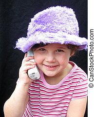 petite fille, joli, téléphone