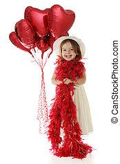 petite fille, joli, valentin