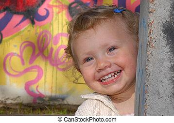 petite fille, jouant peau cycle recherche