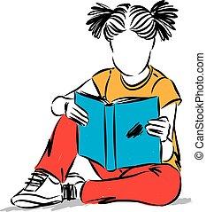 petite fille, livre, illustration, lecture, vecteur, concept, education