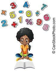 petite fille, math, étudier
