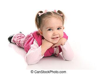 petite fille, mignon, enfantqui commence à marcher