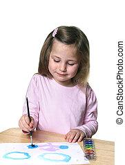 petite fille, peinture