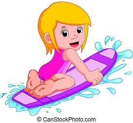 petite fille, planche surf