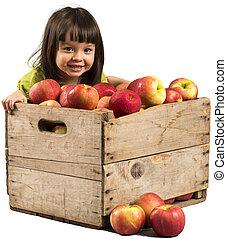 petite fille, pommes