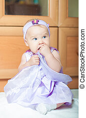 petite fille, robe, beau