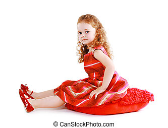 petite fille, robe rouge, beau