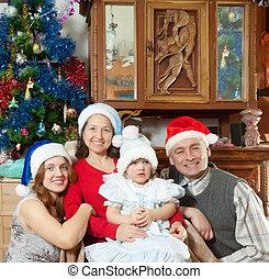 petite fille, santa, noël, famille, chapeaux