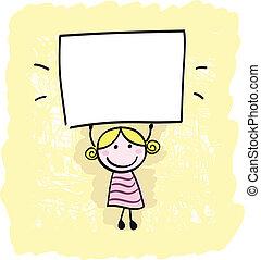 petite fille, signe, tenue, bannière, heureux, vide, vide, gosse