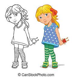 petite fille, tenue, poupée