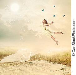petite fille, voler, à, crépuscule