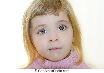 petite fille, yeux, bleu, portrait, blonds