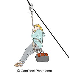 Petite girl on a Zip line - An image of a woman riding on a...