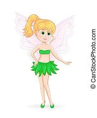 Petite green Fairy - Green fairy. Cute fairy on a white...