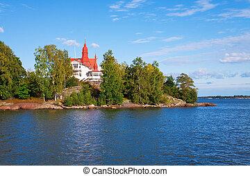 petite maison, île, scandinavie