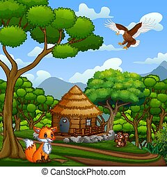 petite maison, animaux, bois, forêt, milieu