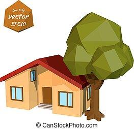 petite maison, arbre, jaune