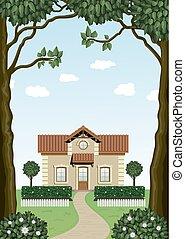 petite maison, arbres.
