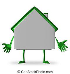 petite maison, blanc, caractère, découragé