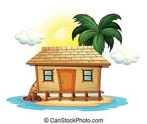petite maison bois, île tropicale