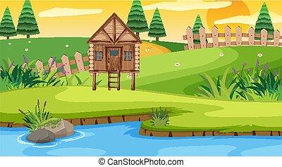 petite maison, bois, scène, champ