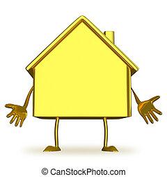 petite maison, caractère, or, découragé