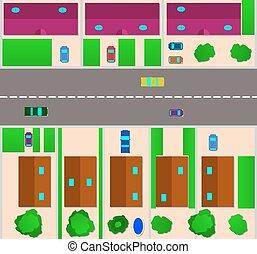 petite maison, carte, vecteur, village., plat