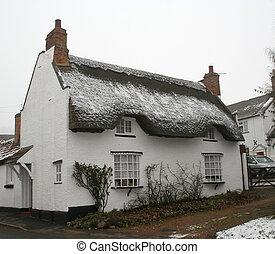 petite maison, couvert chaume, anglaise
