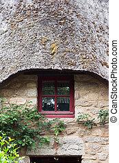 petite maison, couvert chaume, -, devant
