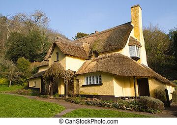 petite maison, couvert chaume, village anglais