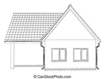 petite maison, croquis, vecteur, roof.
