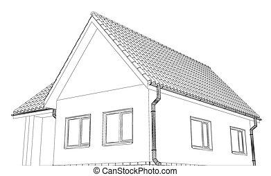 petite maison, croquis, vecteur, toit