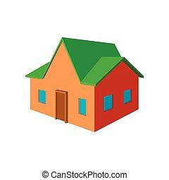 petite maison, dessin animé, icône