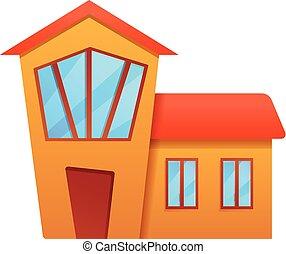 petite maison, dessin animé, icône, village, style