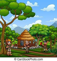 petite maison, devant, scouts, bois, forêt