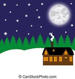 petite maison, fabuleux, forêt, nuit