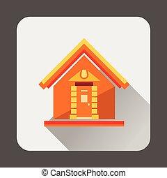 petite maison, icône, style, plat