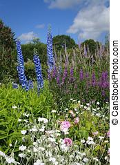 petite maison, jardin fleur, lit, anglaise