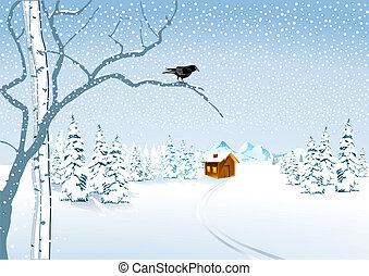 petite maison, neige