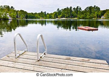 petite maison, pays, calme, lac, dock
